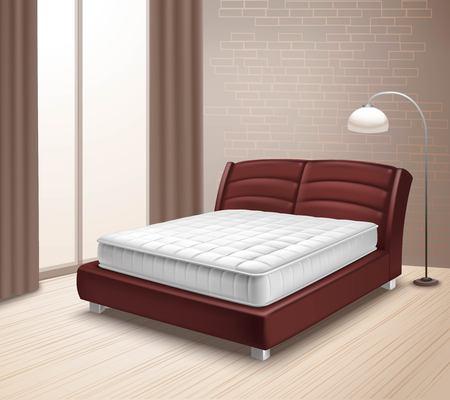 cama: Cama doble colchón en inter casa con ventana con cortinas y lámpara de pie en la ilustración del vector del estilo realista