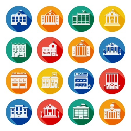 government: Government buildings flat icons in colorful isolated circles with church bank school university police signs isolated vector illustration
