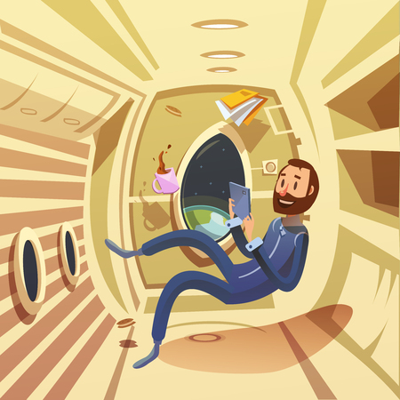 weightlessness: Spaceship interior with weightlessness and work in space symbols cartoon vector illustration
