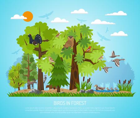 Bos poster met verschillende bomen vijver Vaus vogels en enkele dieren op een blauwe achtergrond plat vector illustratie