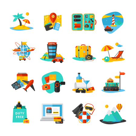 free diver: Decorative isolated icon set with different ways to spend vacation holidays and weekend vector illustration