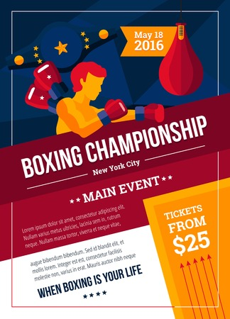 announce: Sports poster to announce a boxing championship colorful vector illustration