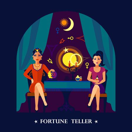 Giovane e bella donna sfera di cristallo fortune teller seduto con il cliente manifesto colorato scuro stampa astratta illustrazione vettoriale