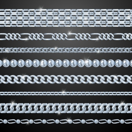 jeweller: Silver realistic chains set on black background isolated vector illustration