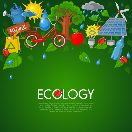 recycling symbols: Ecology concept with nature recycling and green energy symbols flat vector illustration