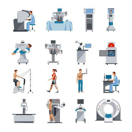 chirurgo: Icone Bionic con apparecchi chirurgici e diagnostici assistente robot e persone protesi ortopediche illustrazione vettoriale isolato