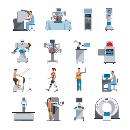 Iconos biónicos con equipo quirúrgico y de diagnóstico asistente robot y la gente prótesis ortopédicas ilustración vectorial Foto de archivo - 53875556