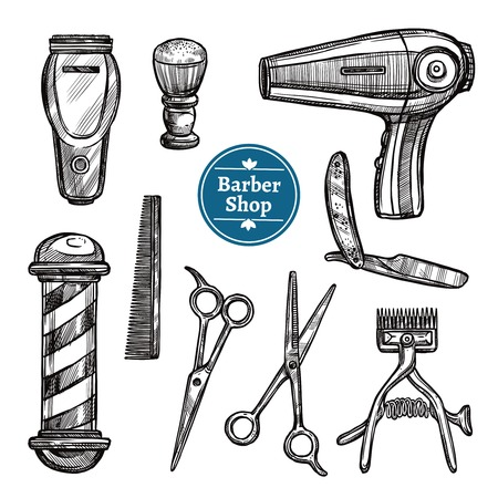 pole: Barber shop attributes tools and accessories doodle black icons set with hairdryer scissors and shave vector isolated illustration