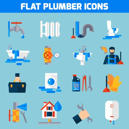 sink drain: Plumbing service flat icons set with toilet bathtub and sink drain repair tools abstract isolated vector illustration