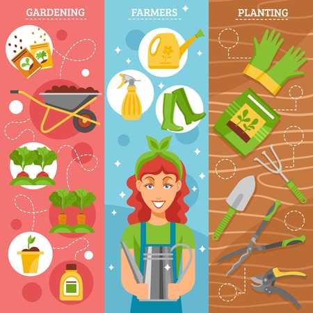 watering pot: Season gardening 3 flat horizontal vertical set banners set with farmer wife holding watering pot abstract vector illustration