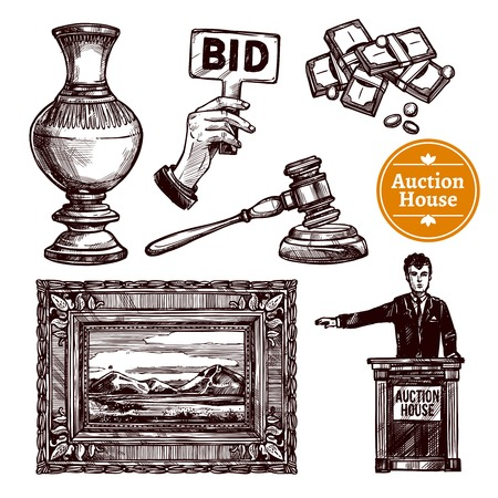 Hand drawn sketch auction set with rare picture vase bid money hammer and manager isolated vector illustration