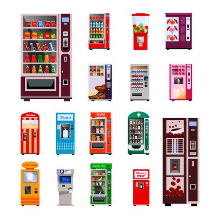 botanas: Máquinas expendedoras iconos conjunto con los juguetes de agua y café máquinas ilustración del vector aislado plana