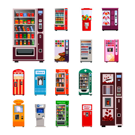 machine: Vending machines icons set with toys water and coffee machines flat isolated vector illustration