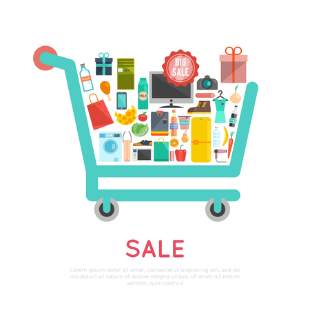 buy icon: Shopping cart concept with products and goods icons flat vector illustration