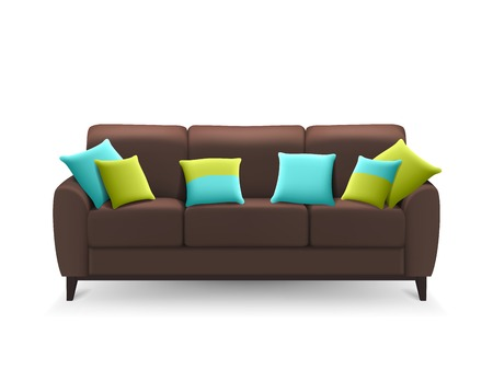 cushions: Brown sofa with decorative cushions for lounge sitting or drawing room home design isolated realistic vector illustration