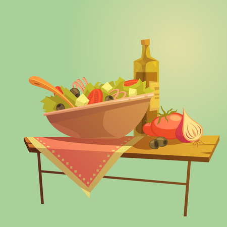 cheese cartoon: Salad cartoon concept with ingredients table and table cloth vector illustration Illustration