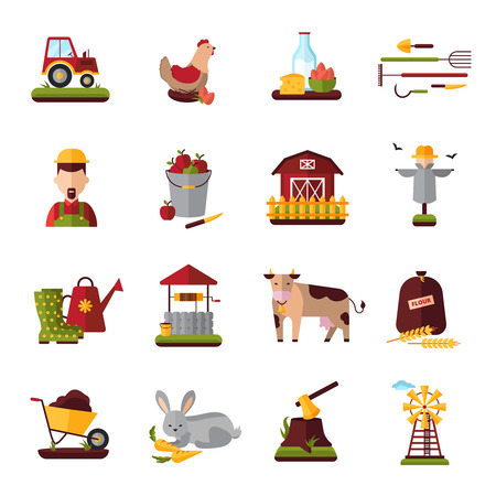 peasant household: Peasant farm household flat icons collection with domestic cattle  animals and crops growing equipment abstract isolated vector illustration