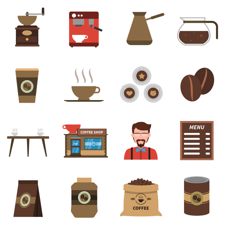 barmen: Classical coffee shop symbols with beans old style grinder and barmen flat icons collection abstract isolated illustration vector