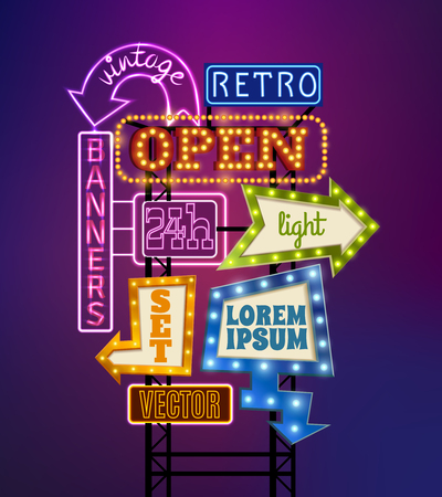 show time: Retro signboard with light banners offers and advertising realistic vector illustration