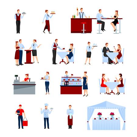 Catering en los iconos fijados restaurante con mesas y camareros ilustración del vector aislado plana