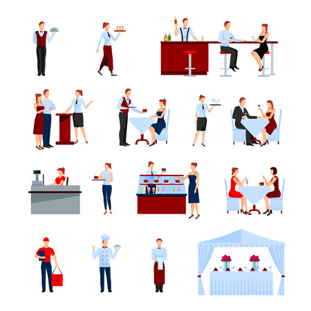 restaurant icons: Catering in the restaurant icons set with tables and waiters flat isolated vector illustration Illustration
