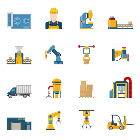 factory line: Set of various technical elements of the production line process icons isolated vector illustration