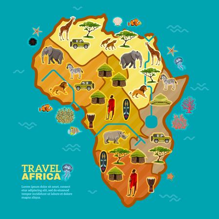 Afrikaanse continent poster verdeeld met verschillende vormen van toerisme bevolken de flora en fauna op de zee achtergrond vector illustratie Vector Illustratie