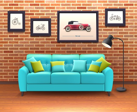 Vibrant turquoise sofa with decorative pillows brings color in sitting room brick walls interior realistic vector illustration