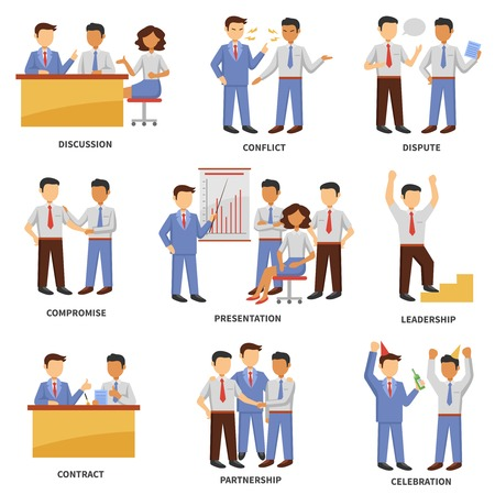 dispute: Business character set with discussion conflict and dispute scenes isolated vector illustration