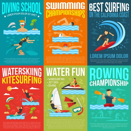 kite surfing: Water sport poster collection for rowing and swimming championships information best surfing water skiing and kite surfing advertising flat vector illustration