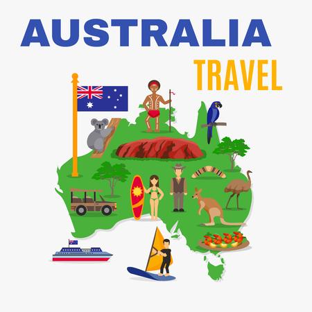 Australie carte Voyage affiche avec des animaux nourriture transport de personnes au continent vert sur fond blanc illustration vectorielle