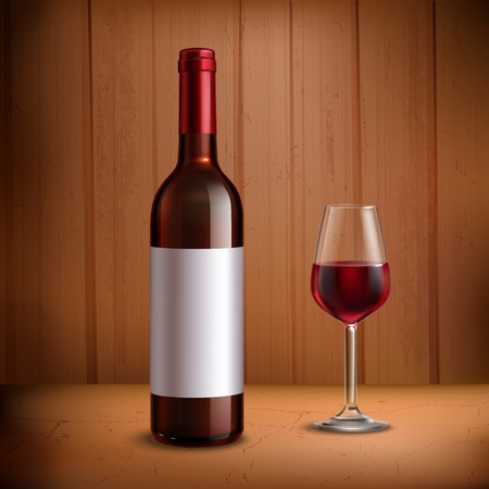 aperitif: Wine bottle template with glass of red wine realistic vector illustration