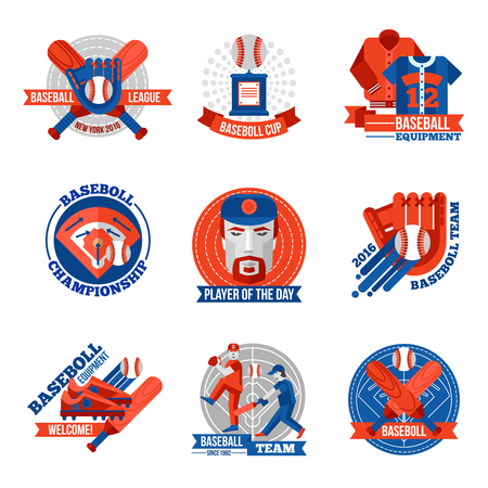 team game: Set of baseball emblems with game equipments team players league and championship advertising flat isolated vector illustration