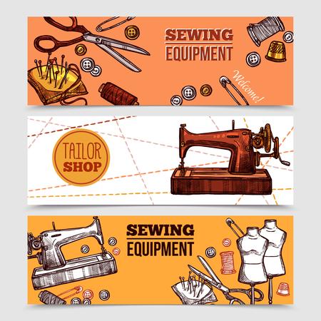 Vintage sewing Banner mit Schneider Werkzeuge Mannequins und Nähmaschine in Hand gezeichnet Stil Vektor-Illustration