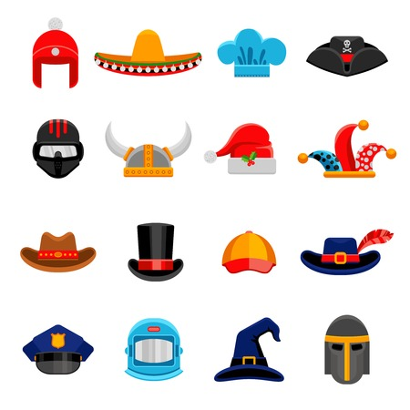 headwear: Funny party costume historical and professional headwear flat icons set with cosmonaut spacesuit abstract isolated vector illustration