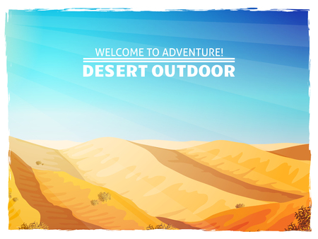shifting: Sand in sunlight rays desert landscape design in bright  blue yellow travel background poster abstract illustration vector