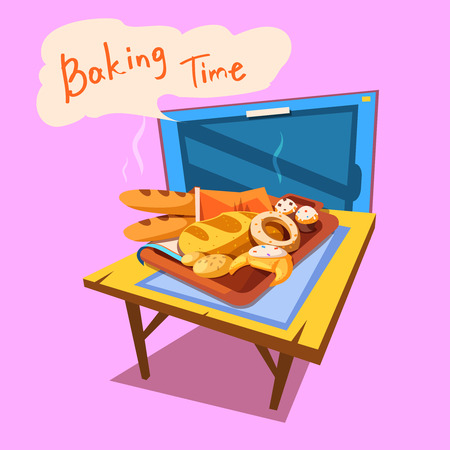 tv retro: Bakery cartoon with plate full of bread and pastry in front of tv retro style vector illustration Illustration