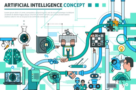 Composición línea concepto de inteligencia artificial con símbolos de comunicación ilustración del vector plana