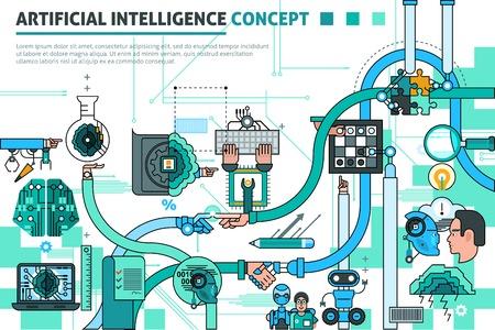 inteligencia: Composición línea concepto de inteligencia artificial con símbolos de comunicación ilustración del vector plana Vectores