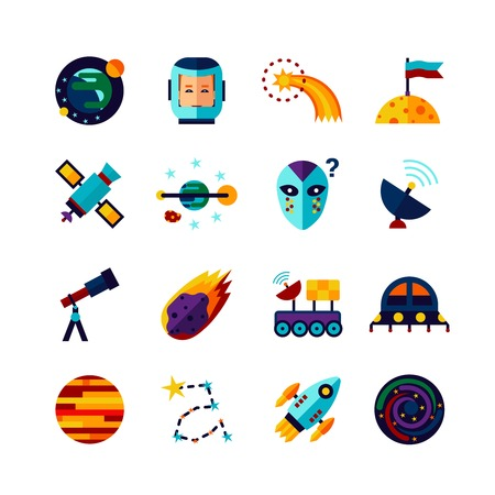 Space symbols Flat Icons Collection with planets cosmonaut spacecraft alien and comet abstract isolated vector illustration