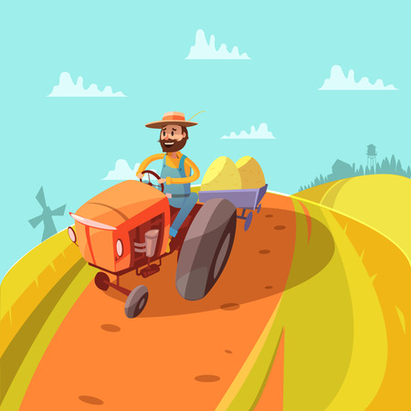 granary: Farmer cartoon background with tractor mill hills and harvest vector illustration