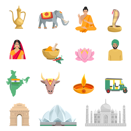 india culture: India flat icons set with symbols of culture and religion isolated vector illustration