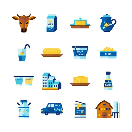 cottage cheese: Milk farm ecological dairy fresh products delivery flat icons set with cottage cheese abstract isolated vector illustration Illustration