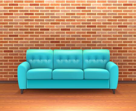turquesa: Interior moderno de la decoraci�n del hogar de la pared de ladrillo y de dise�o de ideas con turquesa vibrante sof� de cuero ilustraci�n vectorial realista