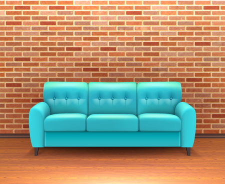 turquoise: Modern interior brick wall home decoration and design ideas with vibrant turquoise leather sofa realistic vector illustration