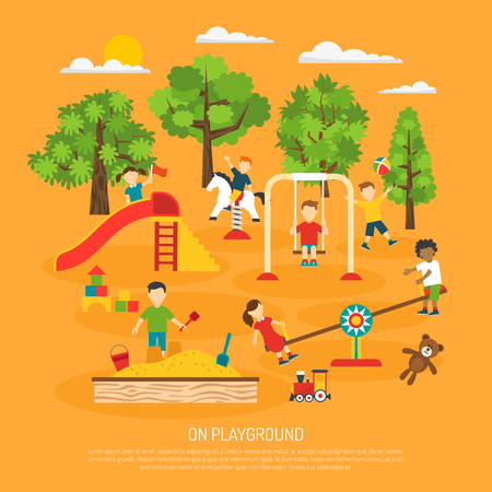 Kindergarten poster of kids playing on outdoor playground with swings and childrens slide flat vector illustration