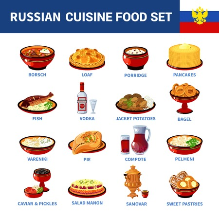 ensalada rusa: Rusos platos de comida nacional iconos planos establecen con sopa de remolacha y vodka gachas panqueques resumen ilustración vectorial aislado