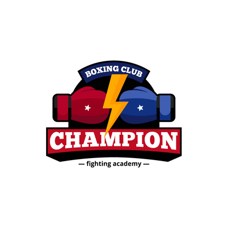 championship: Fighting academy boxing champions club logo design in blue and red with golden lightning flat abstract vector illustration Illustration