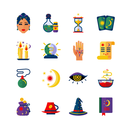 fortune teller: Fortune teller hand palm and card reader woman magic attributes flat icons collection abstract isolated vector illustration