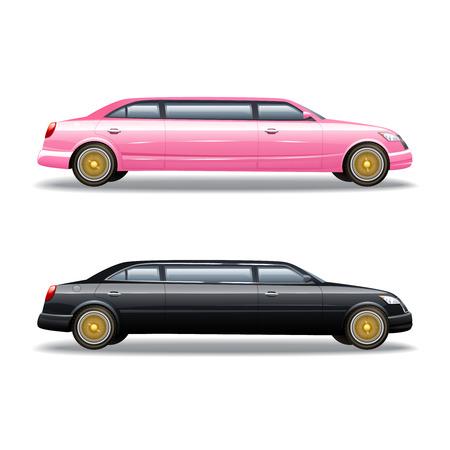 famosos: coche limusina de lujo para las celebridades o políticos del gobierno dos aislados banners iconos en la ilustración vectorial de color rosa y negro